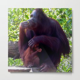 Mother and Child Snacking Metal Print