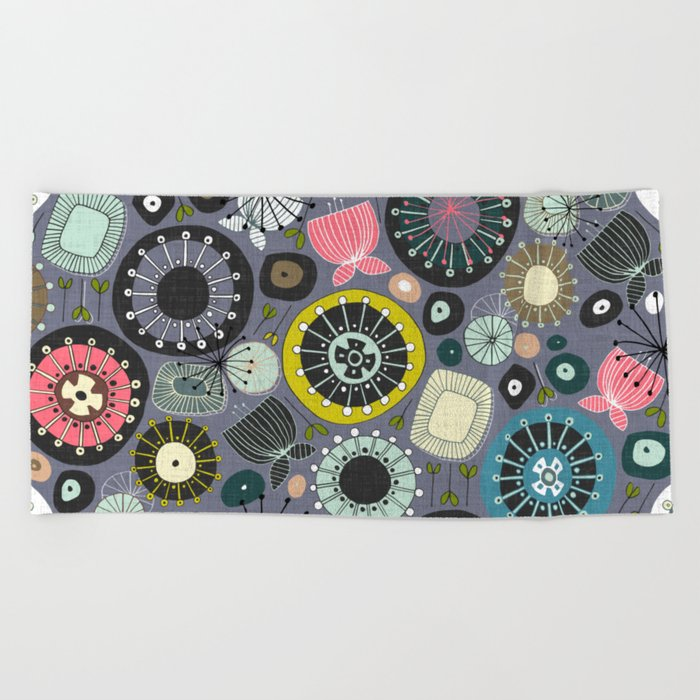 blooms amethyst Beach Towel