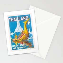 1950 Thailand Royal Barge Travel Poster Stationery Cards