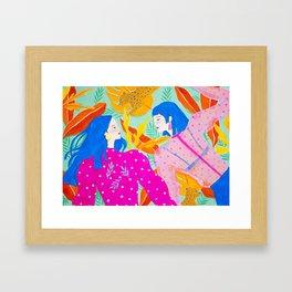 Girls Hanging Out in Garden Framed Art Print