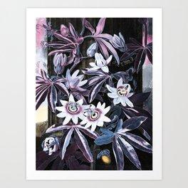Temple of Flora Blue Lavender Mauve Art Print