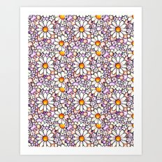 Large Blush Daisies Tiled Art Print