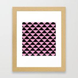 Graphic Geometric Pattern Minimal 2 Tone Infinity Triangles (Pastel Pink & Black) Framed Art Print