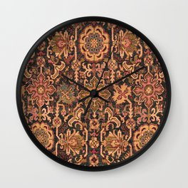 Floral Medallion I // 18th Century Colorful Blue Lime Green Pink Sapphire Plum Burlap Brown Pattern Wall Clock