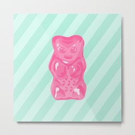 Pink Gummi Bear on Mint Background Metal Print