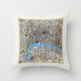 Vintage London Gold Foil Location Coordinates with map Throw Pillow