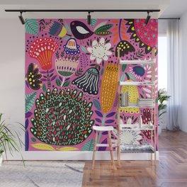 Summer Tropical Pattern Bird Flowers Wall Mural