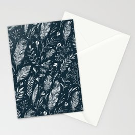 Feathers And Leaves Abstract Pattern Black And White Stationery Cards