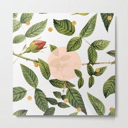 Leaves + Dots Metal Print
