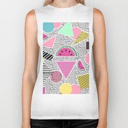 Modern geometric pattern Memphis patterns inspired Biker Tank