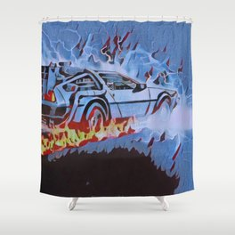 Back to the Future Car time travel Illustration Retro Style Shower Curtain