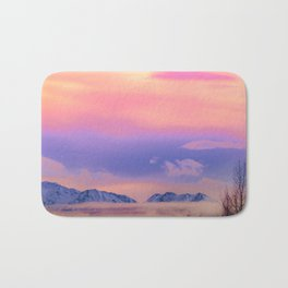 Alaskan Winter Fog Digital Painting Bath Mat