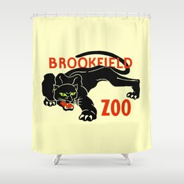 Black panther Brookfield Zoo ad Shower Curtain