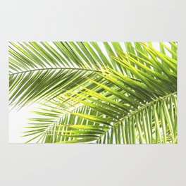 Palm leaves tropical illustration Rug