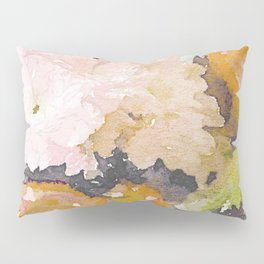 Watercolor Floral Print in Grey, Mustard, Pastel Pink, and Off White Pillow Sham