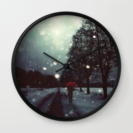 Dark Winter Wall Clock