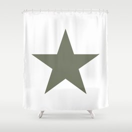 Olive green single star on white Shower Curtain