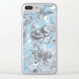 Cyan and grey Marble texture acrylic Liquid paint art Clear iPhone Case