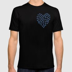 Hearts Heart Red on Navy Mens Fitted Tee Black MEDIUM
