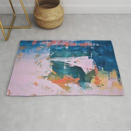 The Sword in the Stone: a vibrant abstract painting in blues pink and yellow by Alyssa Hamilton Art  Rug