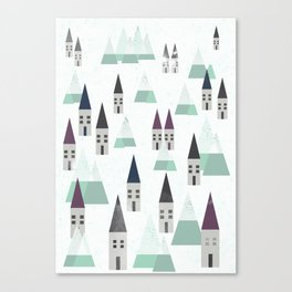 Village on winter Canvas Print