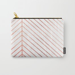 Rose Gold Leaf Line Carry-All Pouch