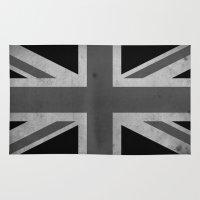 jack white Area & Throw Rugs featuring Union Jack - Black&White by NicoWriter