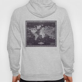 Vintage Map of The World (1833) Purple & White  Hoody