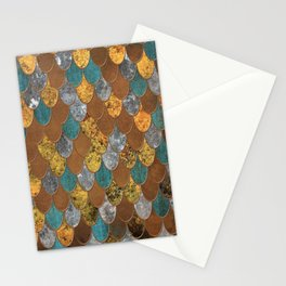 Rusty Ocean Golden Mermaid Scales HJYLE Stationery Cards