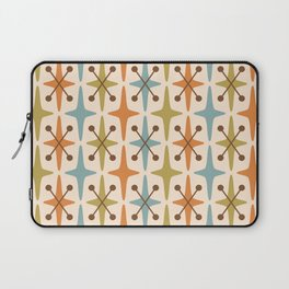 Mid Century Modern Abstract Star Pattern 441 Orange Brown Blue Olive Green Laptop Sleeve
