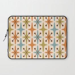 Mid Century Modern Abstract Star Pattern 441 Orange Brown Blue Olive Green Laptop Sleeve