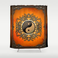 ying yang Shower Curtains featuring Ying and yang by nicky2342
