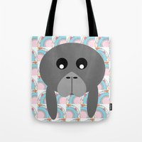 manatee Tote Bags featuring Rainbow Manatee by Bunhugger Design