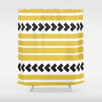striped Shower Curtains featuring Striped by Mariana Nabas