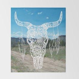 New Mexico Bull Skull Throw Blanket