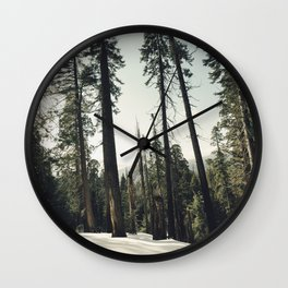 Winter Sequoia Forest Wall Clock