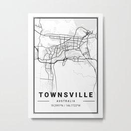 Townsville Light City Map Metal Print