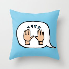 Hand-drawn Emoji - Hands Raised Up In Cheer Throw Pillow