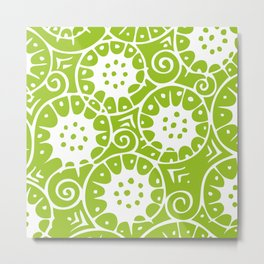 Lime Swirl Pattern Metal Print