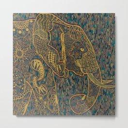 Zentangle Elephant Gold Metal Print