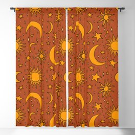 Vintage Sun and Star Print in Rust Blackout Curtain