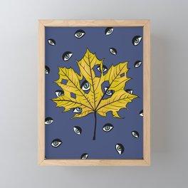 Yellow Leaf Creepy Eyes Pattern Over Blue Framed Mini Art Print