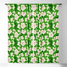 White Camellias and Green Leaves Blackout Curtain