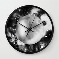 decal Wall Clocks featuring Moon by haroulita