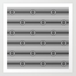 Concentric Circles and Stripes in Black and White Art Print