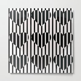 Black and White Stripe Hearts Design Metal Print