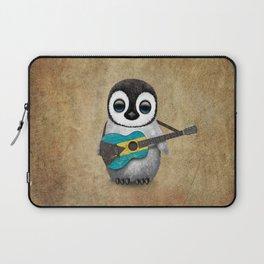 Baby Penguin Playing Bahamas Flag Acoustic Guitar Laptop Sleeve