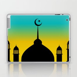 Mosque dome and minaret silhouette with moon during sunset - eid gifts Laptop & iPad Skin