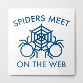 Spiders Meet On The Web Metal Print