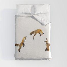 Fox Snow Jump Duvet Cover